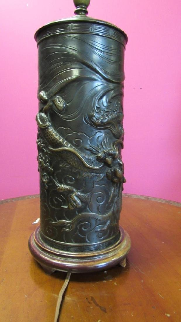 Chinese Brass Dragon Table Lamp