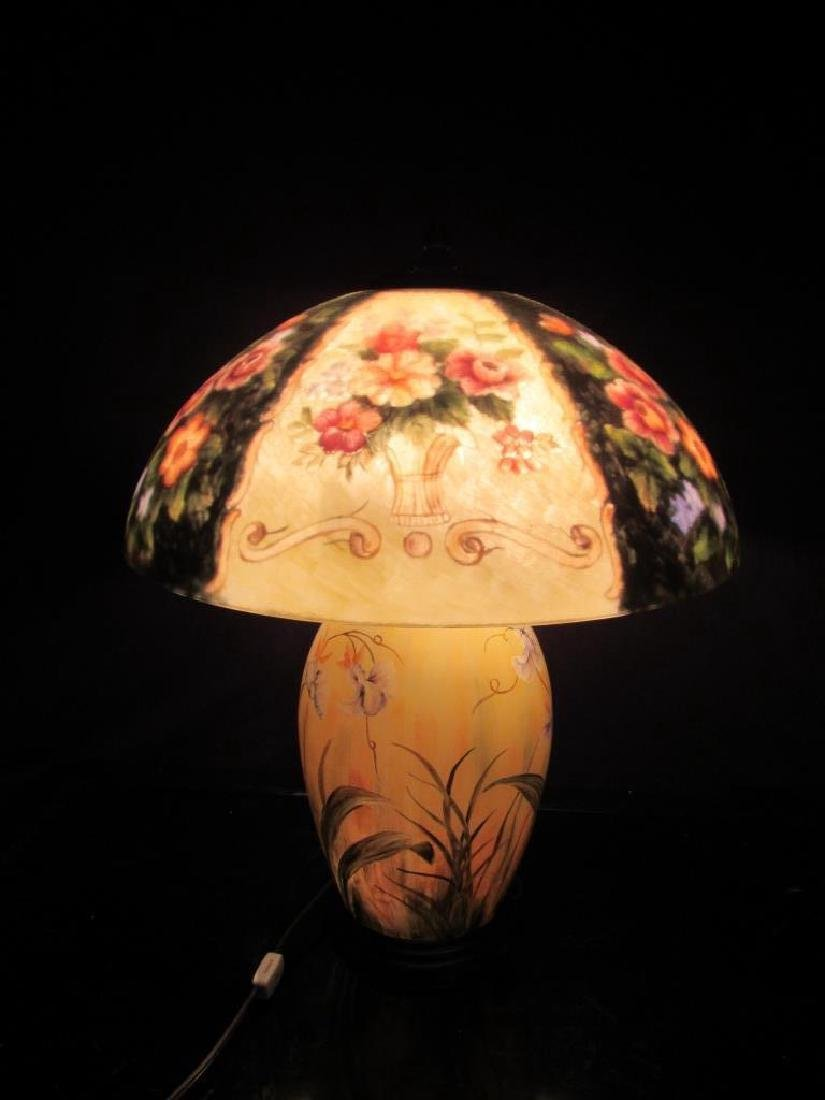 Vintage Reverse Painted Lamp and Shade - 10