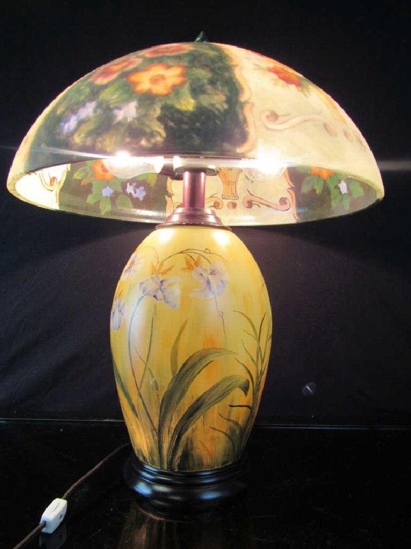 Vintage Reverse Painted Lamp and Shade