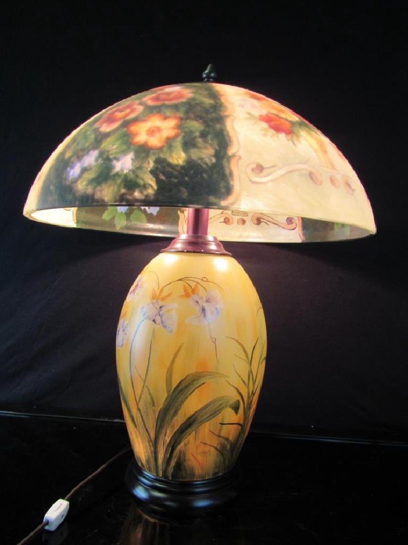 Vintage Reverse Painted Lamp and Shade - 2