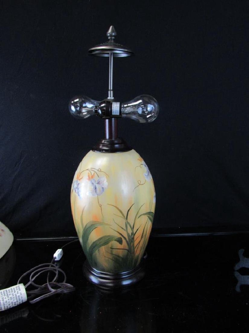 Vintage Reverse Painted Lamp and Shade - 3