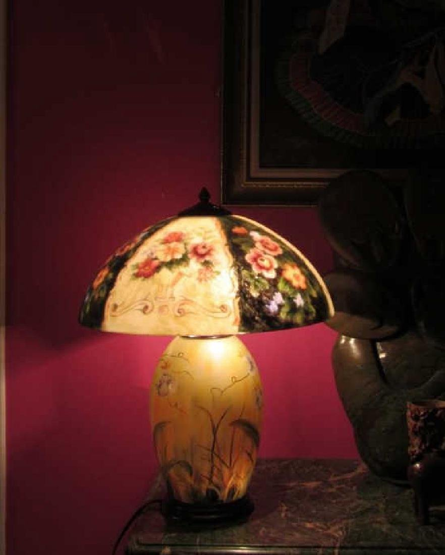 Vintage Reverse Painted Lamp and Shade - 5