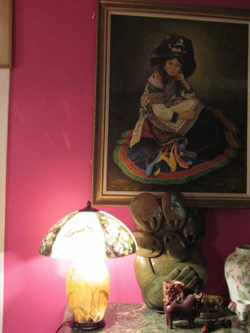 Vintage Reverse Painted Lamp and Shade - 6