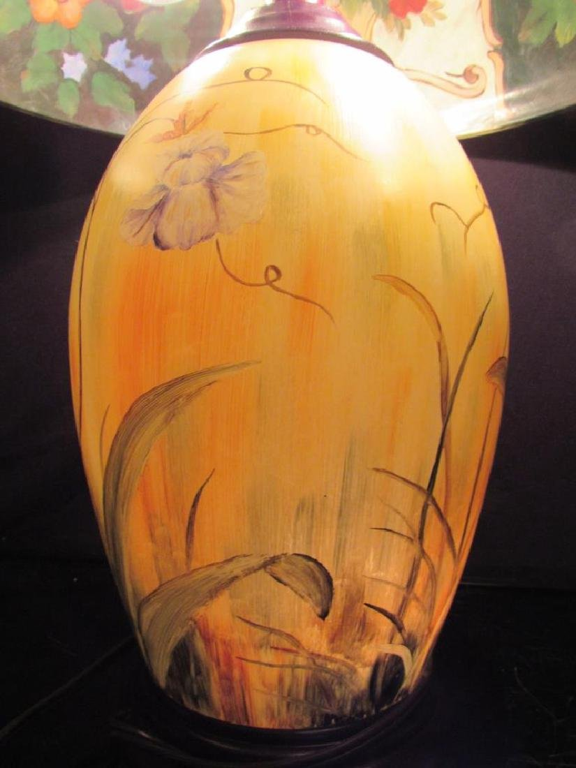 Vintage Reverse Painted Lamp and Shade - 8