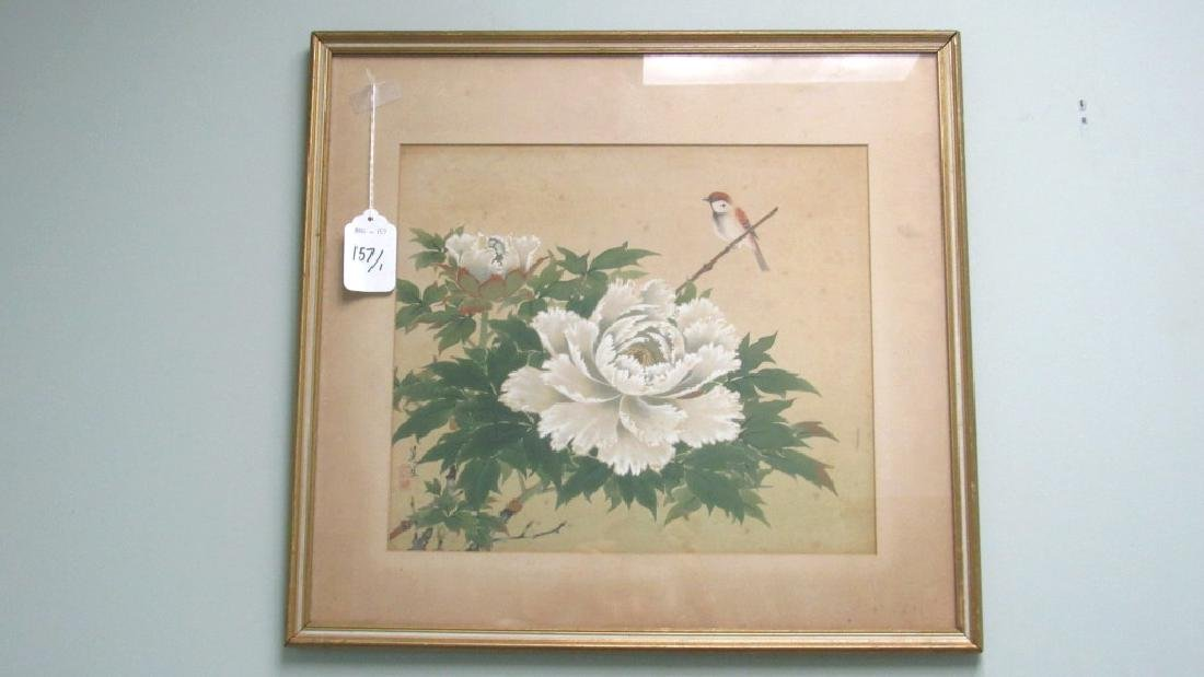 Chinese Arts Pair of Pink Flowers Painting