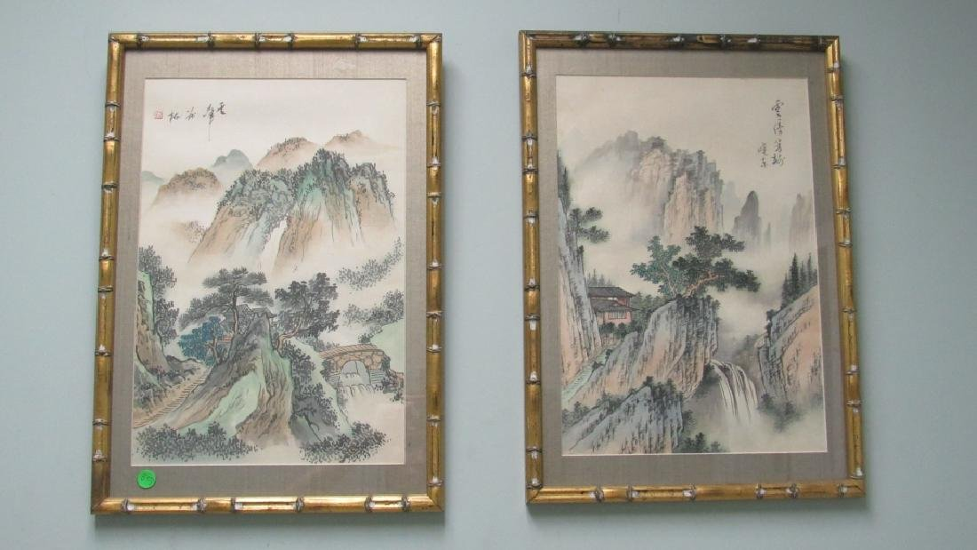 Pair of Paintings of Mountains