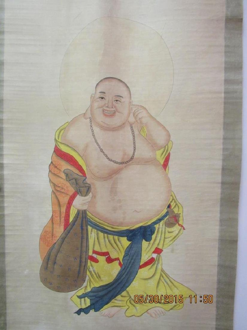 Chinese Buddha Silk Painting Scroll