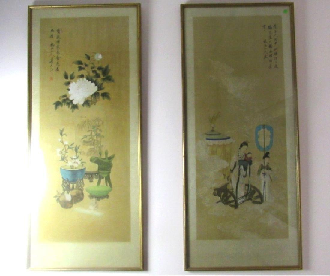 Pair of Chinese Silk Paintings by Longchi Hermit