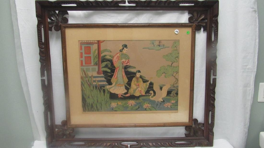 Chinese Silk Painting of Women in the Garden