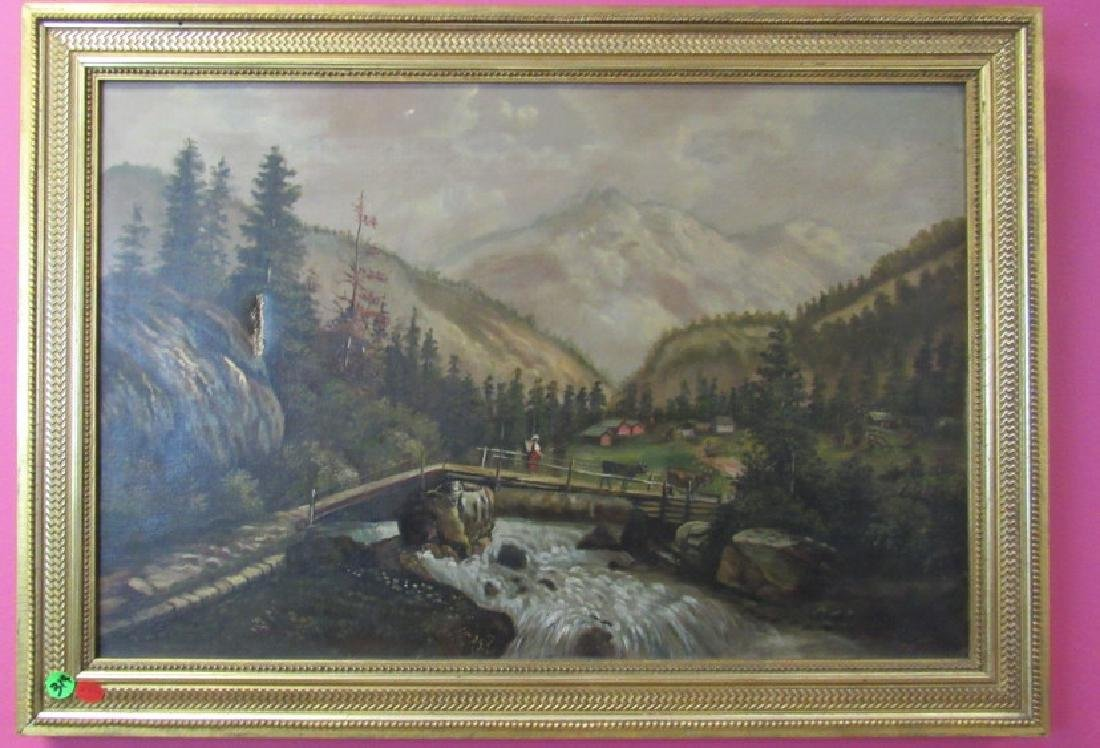 Painting of a Bridge, Mountains, and a River