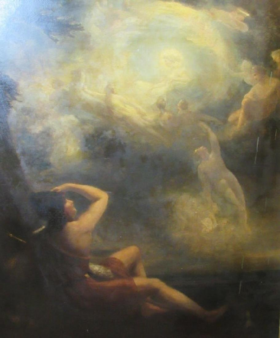 18-19th Century European Painting Angels in Sky