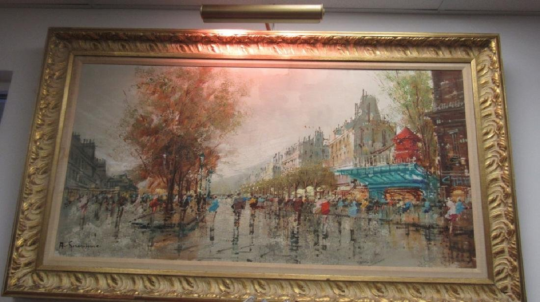 French Oil Painting with Elaborate Frame