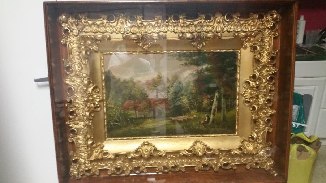 Framed Glass Painting with Gold Wood Frame