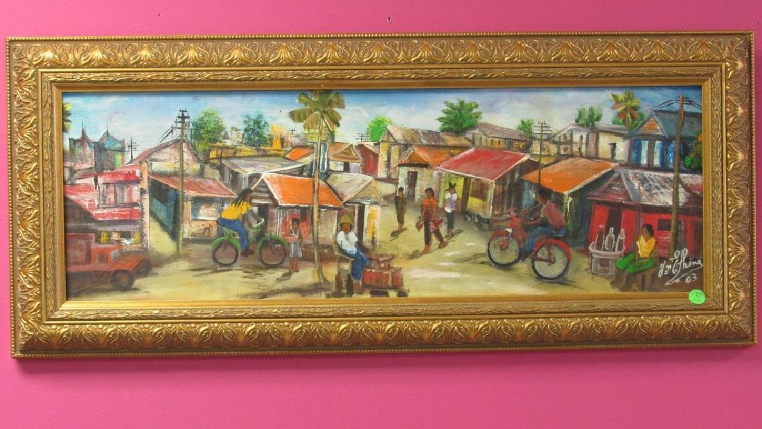 Haitian Arts Painting of a Small Village