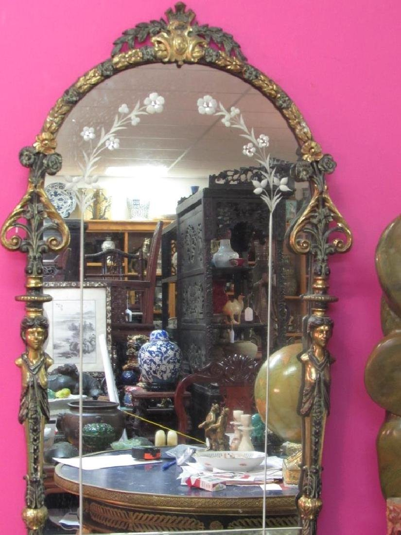 Beautiful Very Old Victorian Bronze Hanging Mirror