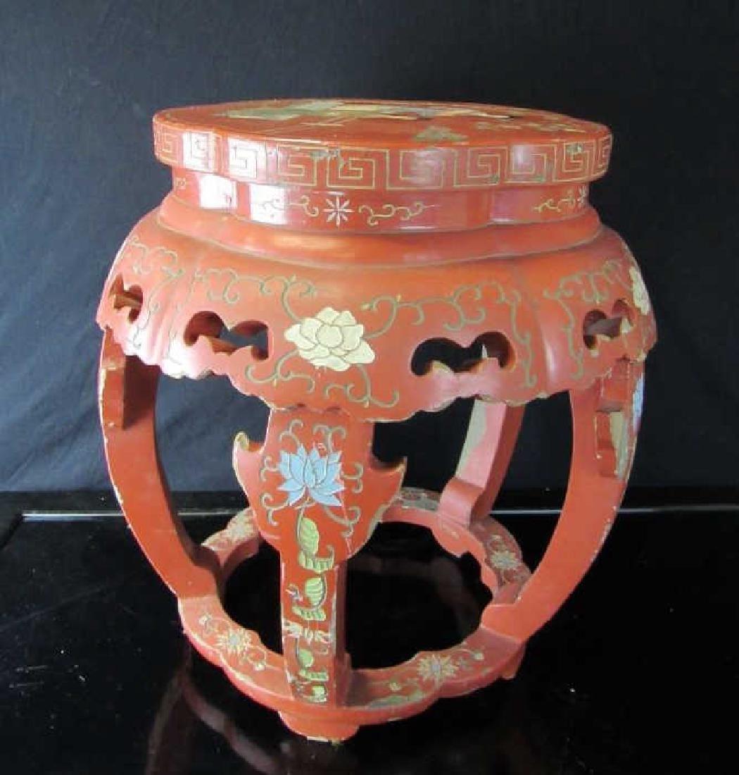Chinese Carved Hexagonal Cinnabar Stand