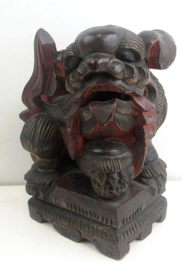 Wood Carving of Foo Dog