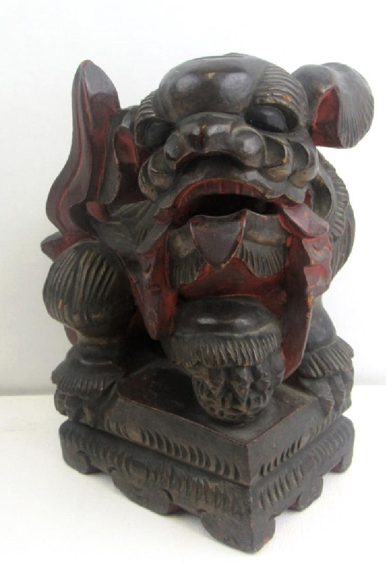 Wood Carving of Foo Dog