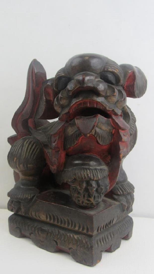 Wood Carving of Foo Dog - 2