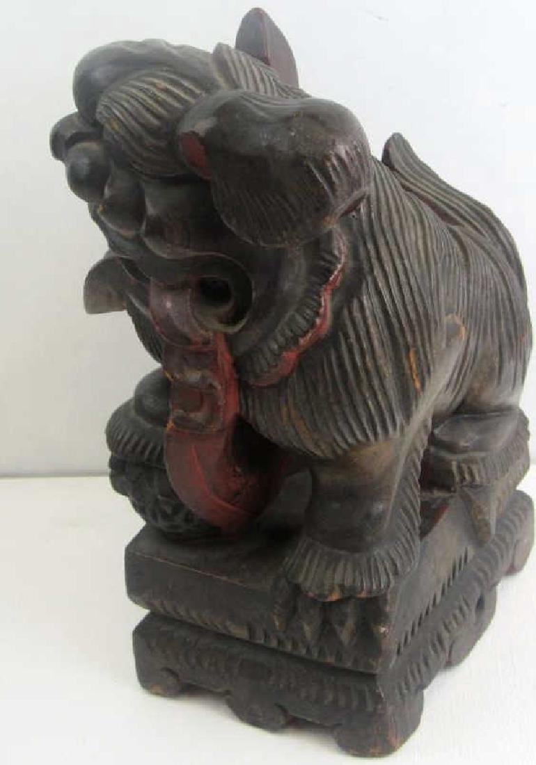 Wood Carving of Foo Dog - 4