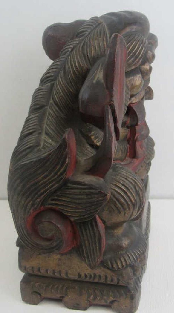 Wood Carving of Foo Dog - 5