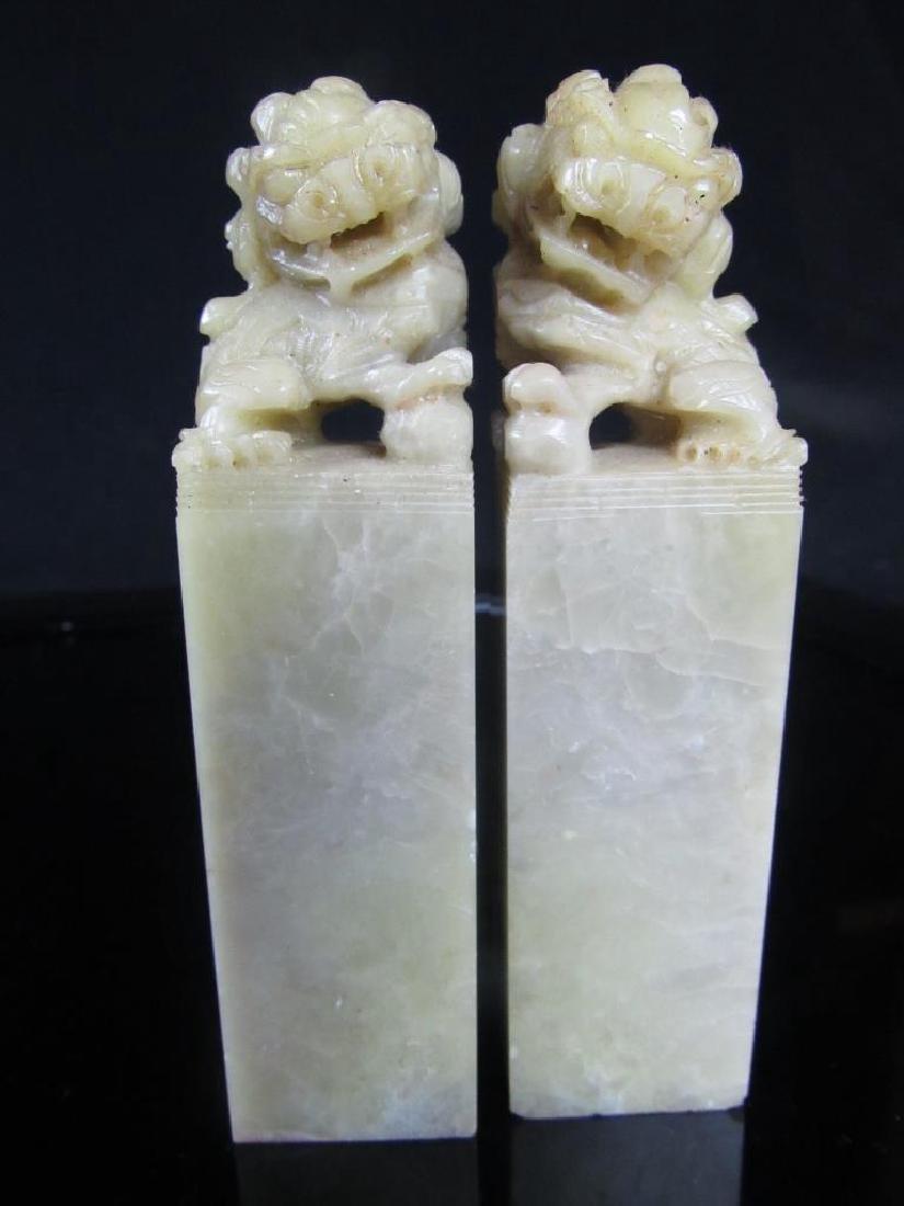 Pair 20th Century Soapstone Blank Seal Template