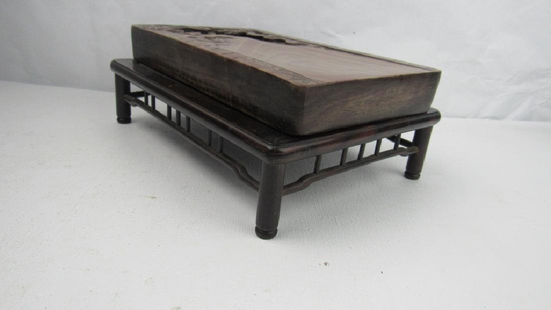 Qing Dynasty Style Inkstone With the Zitan Base