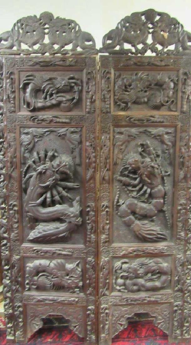 Intricately Carved Two Panel Screen