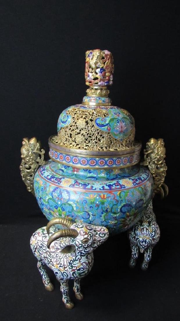 Chinese Cloisonne Three Goat Urn
