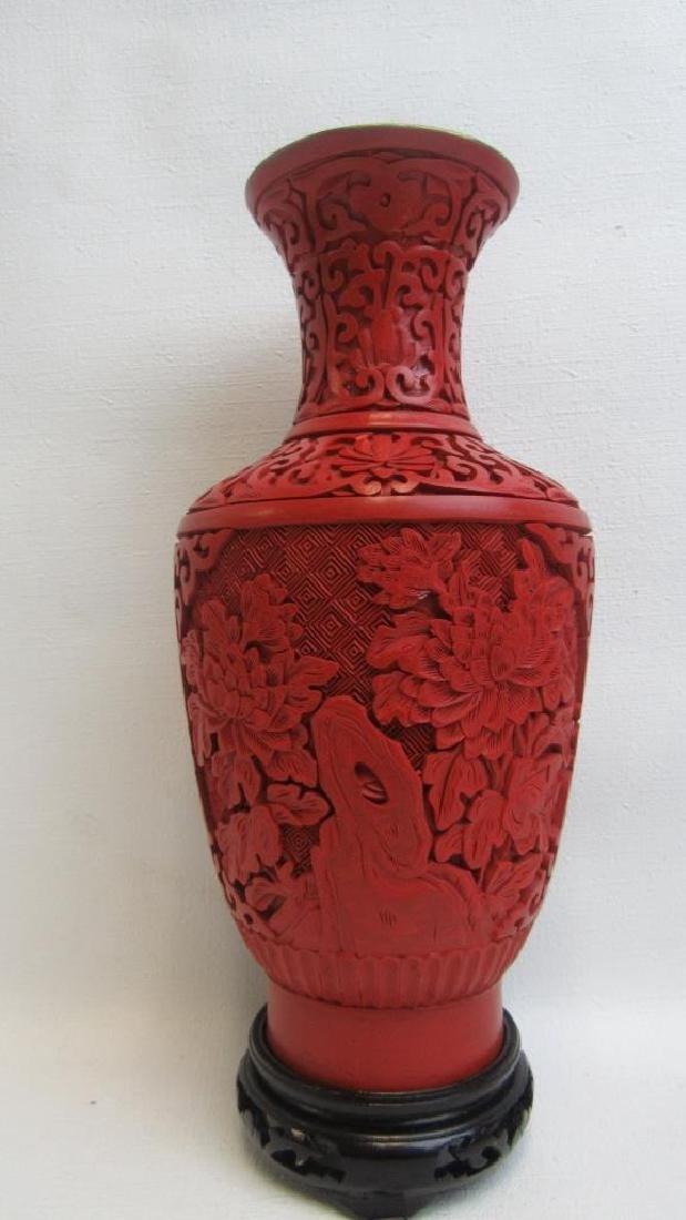 20th Century Cinnabar Vase