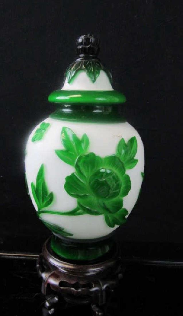 Qing Dynasty Peking Glass Cameo Jar
