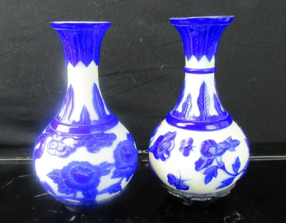 Pair of Qing Dynasty Peking Glass Cameo Vases