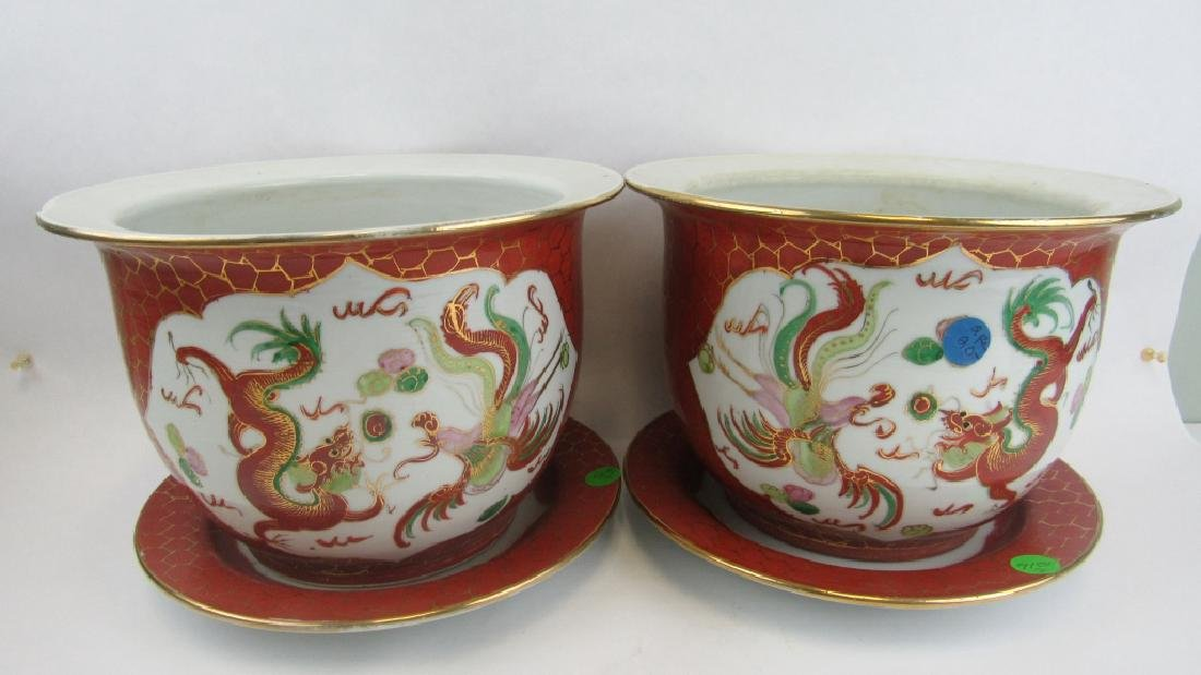 Pair of 20th Century Dragon and Phoenix Planters