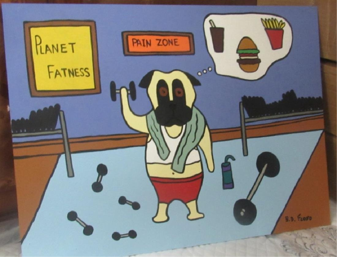 Comedic Painting of Dog at the Gym