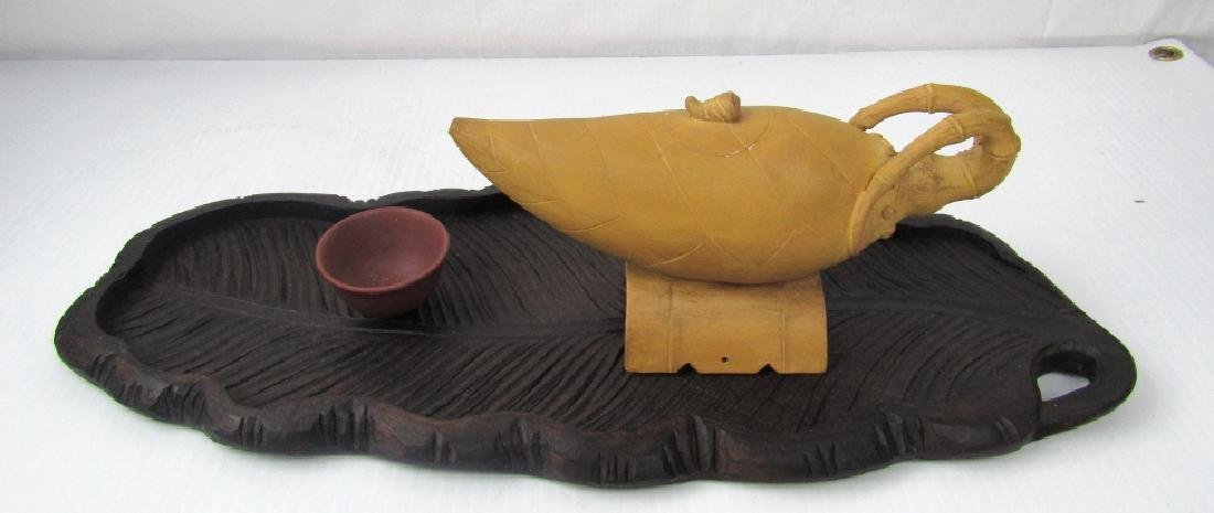 Sand Colored Palm Teapot - 3