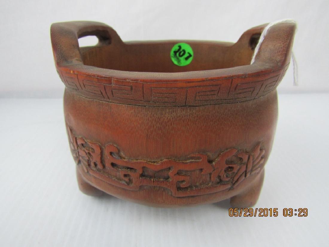 Hand Carved Bamboo Incense Censer