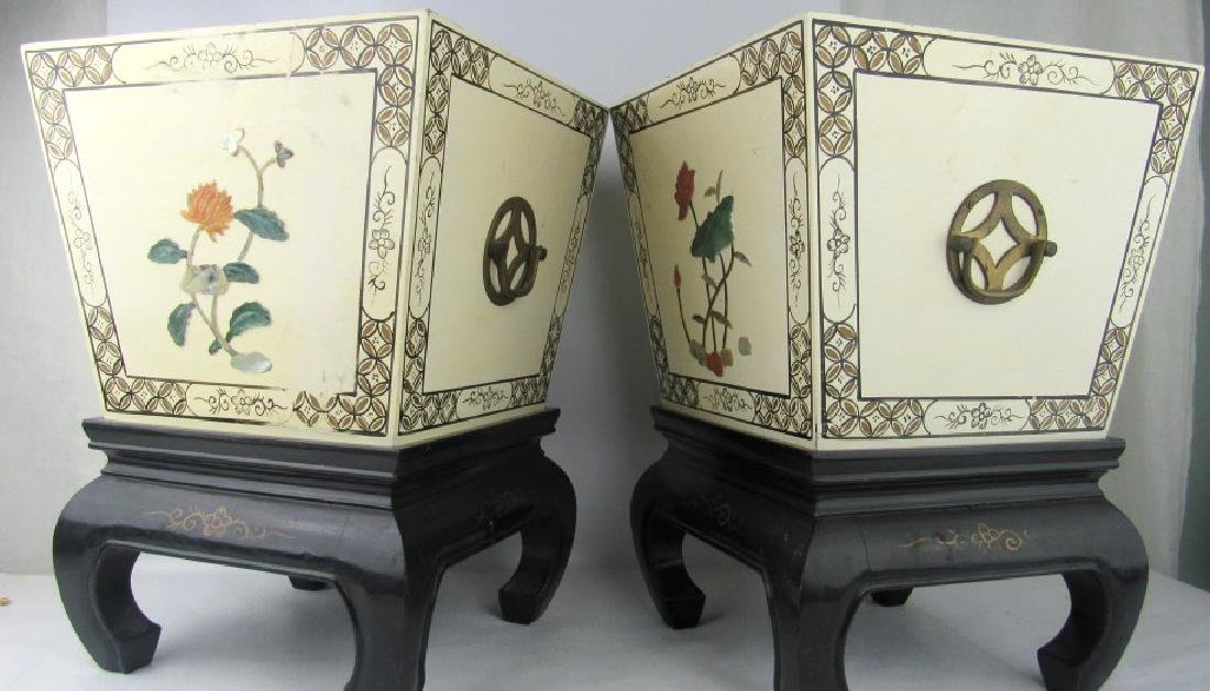 Beige Metal Boxes with Floral Design