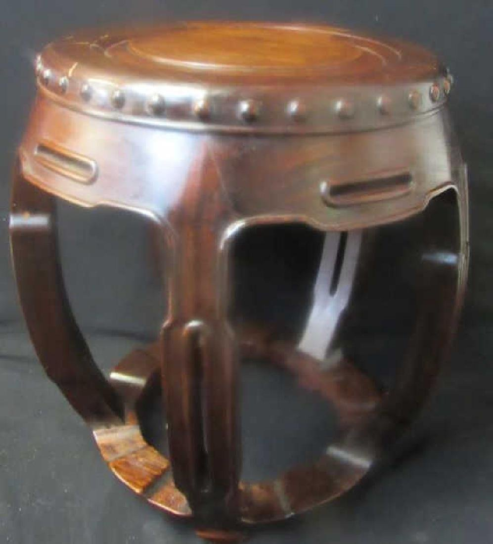 Huamu-Inset Hongmu Barrel-Form Drum Stool