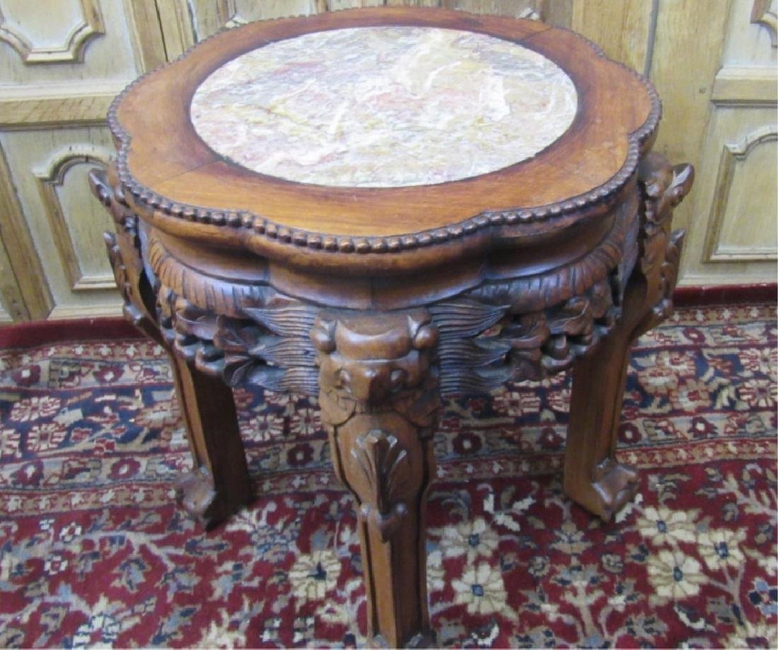 Rosewood Plant Stand with Marble Inlay