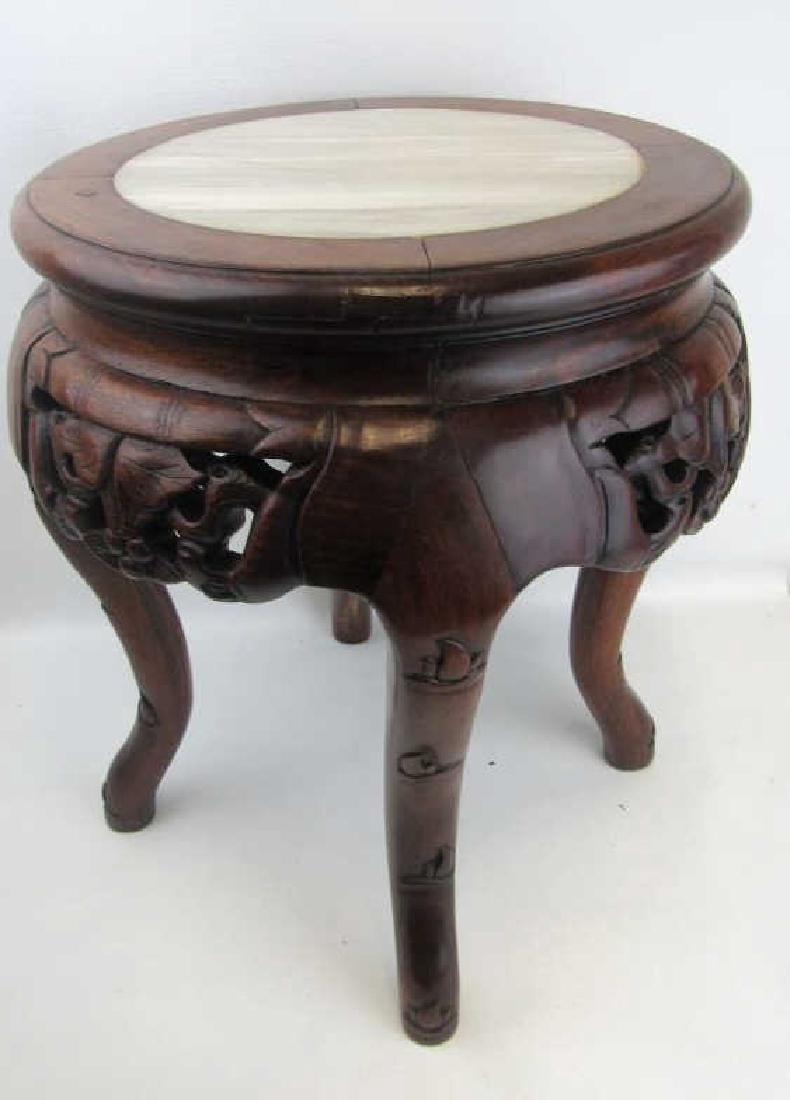 Hainan  Huang Li  Plant Stand with Marble Inlay