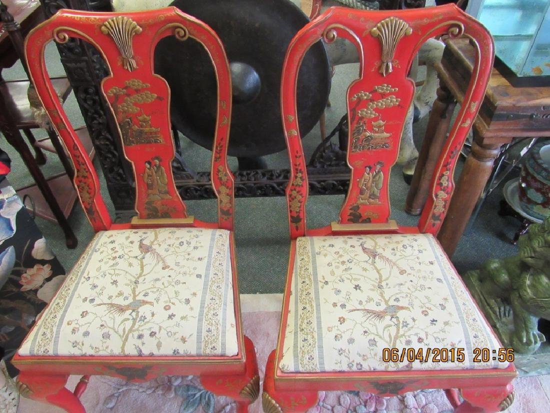 Pair Chinese Red & Gold Painted Chairs