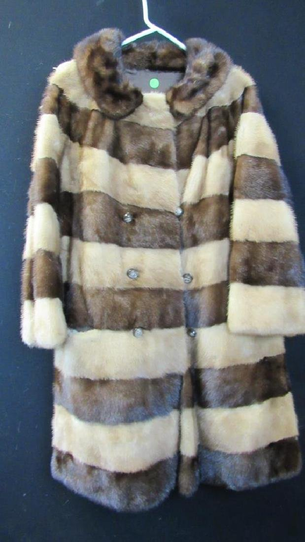 Vintage Two Color Striped Fur Coat