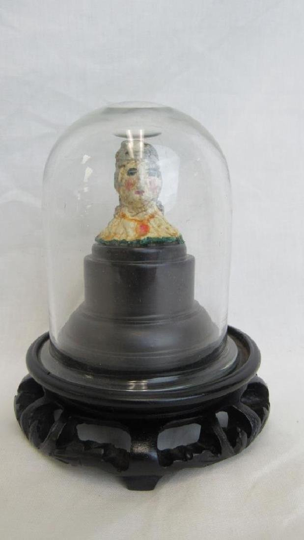 Guan Yin Bust on Wooden Base