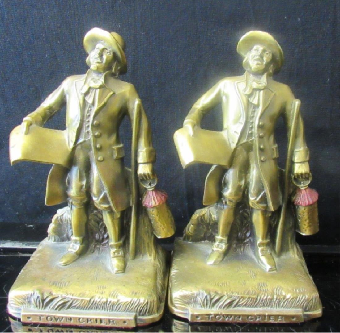 "Vintage Brass Bookend ""Town Crier"""