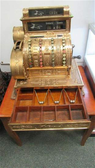 """National"" Brand Gold Plated Cash Register"