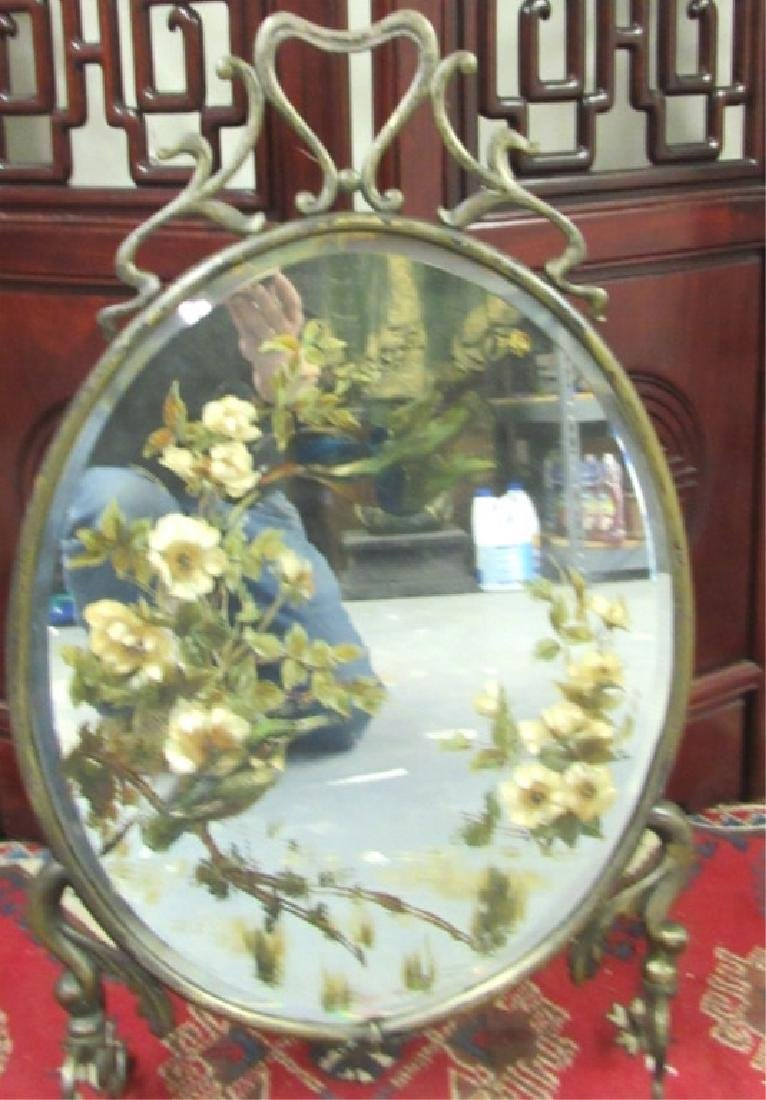 Ornate Hanging Mirror with Floral Designs Affixed