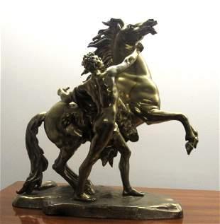 Bronze Beautiful Sculpture of Horse and Horseman