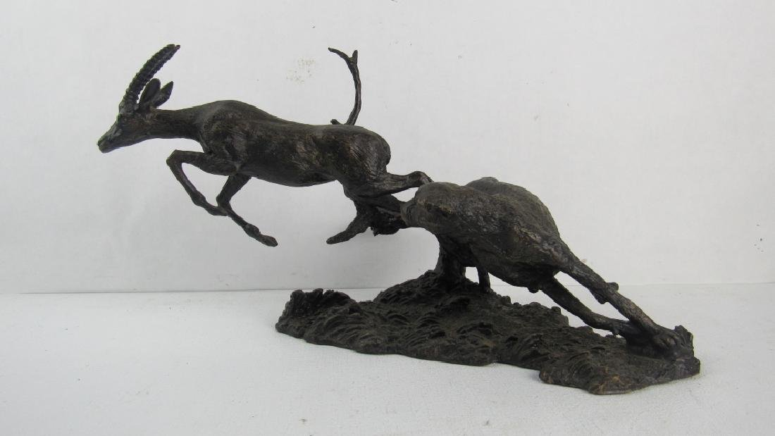 Pair Chinese Bronze Deer, exhibited