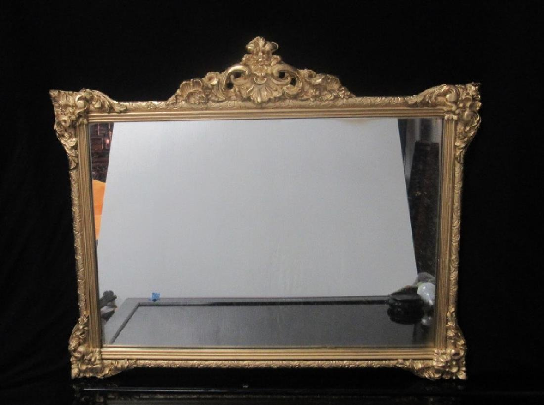Gold Painted Wood Frame Hanging Mirror