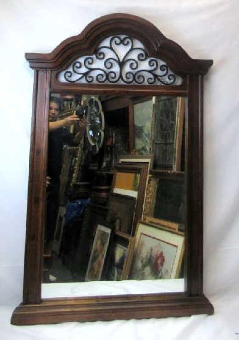 Large Wood Frame Hanging Mirror